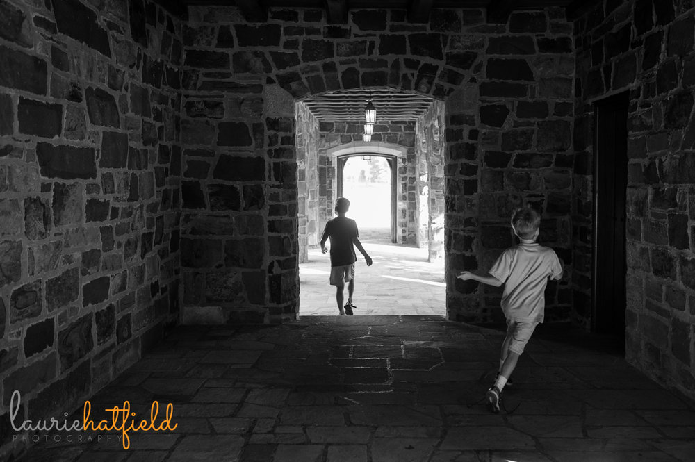 boys running outside of Frost Chapel at Berry College | Huntsville photographer