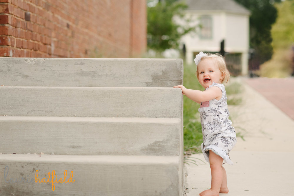 one year old baby girl standing | Mobile AL family photographer