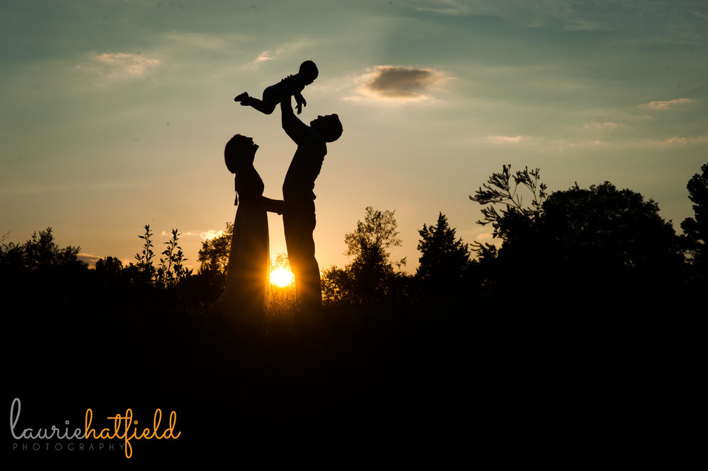 silhouette of family of three | Mobile AL photographer