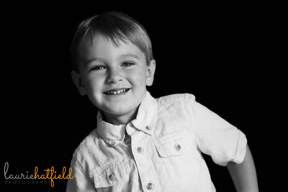 black and white boy's portrait | Mobile AL preschool photographer