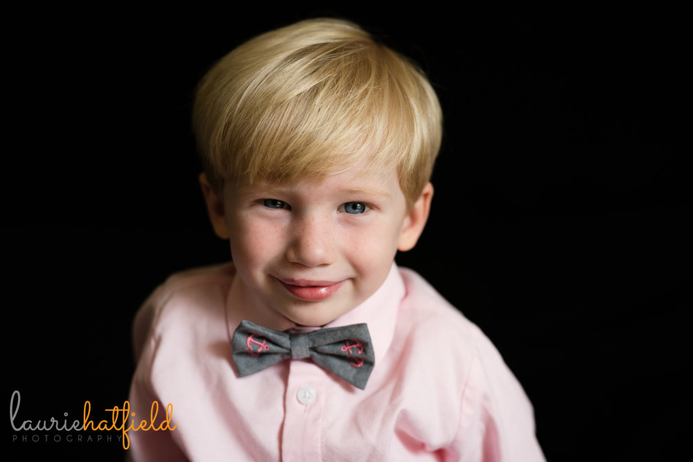 blond 3-year-old school photo | Mobile AL preschool photographer
