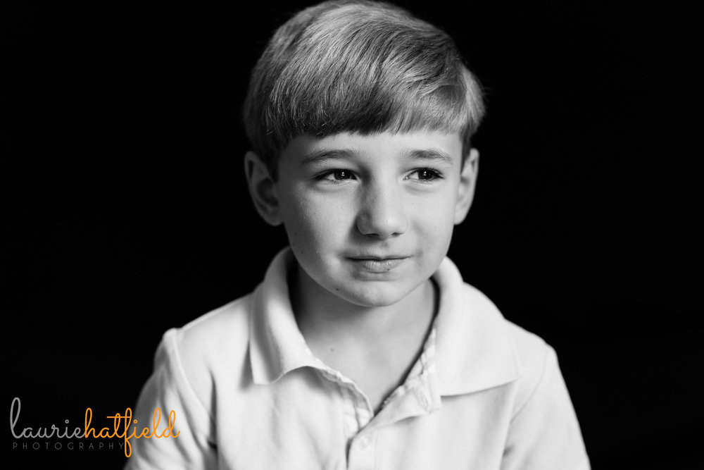 black and white portrait of first grade boy | Mobile AL school photographer