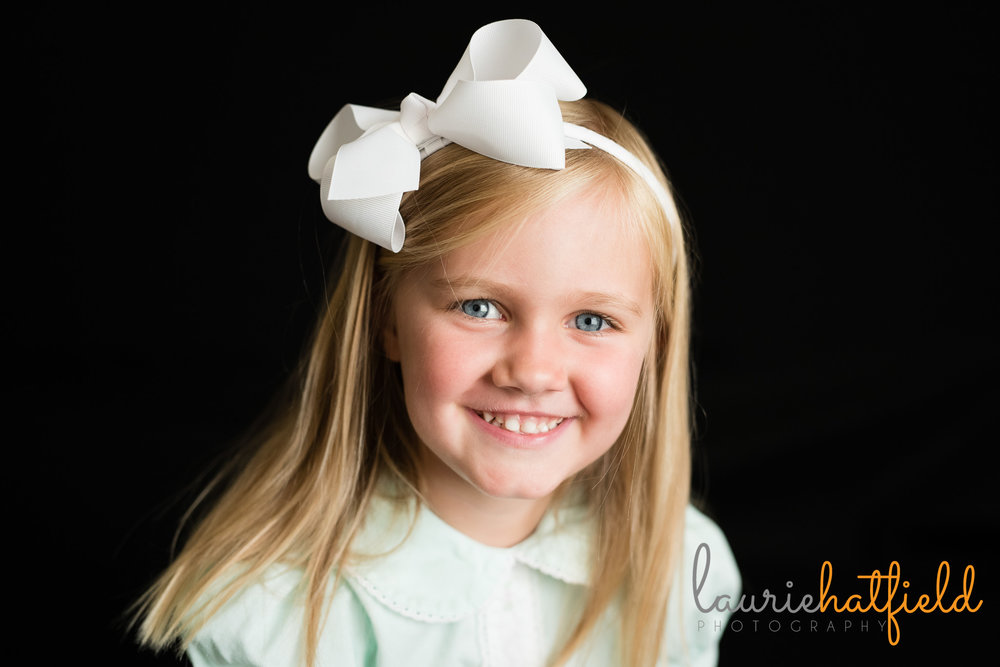 3 year old girl school portrait | Mobile AL preschool photographer