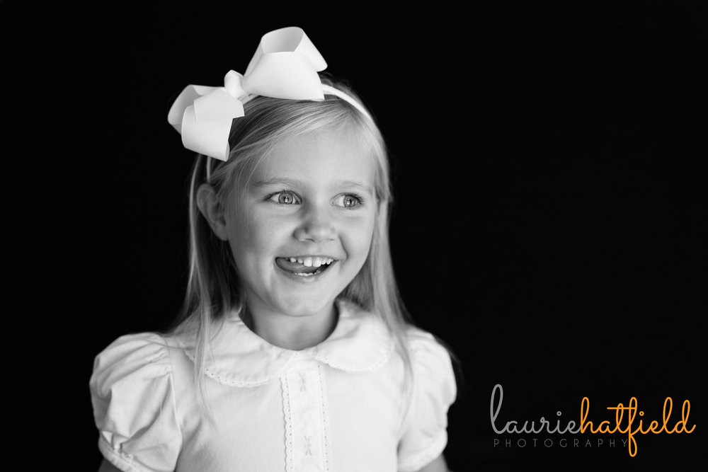 black and white portrait of a 3 year old girl | Mobile al school photographer