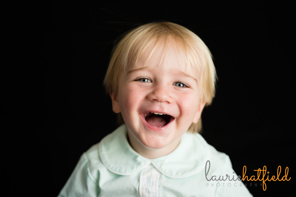 blond little boy laughing | Mobile AL preschool phtographer