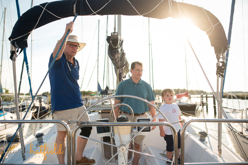 3 generations on sailboat | Mobile Al family photographer