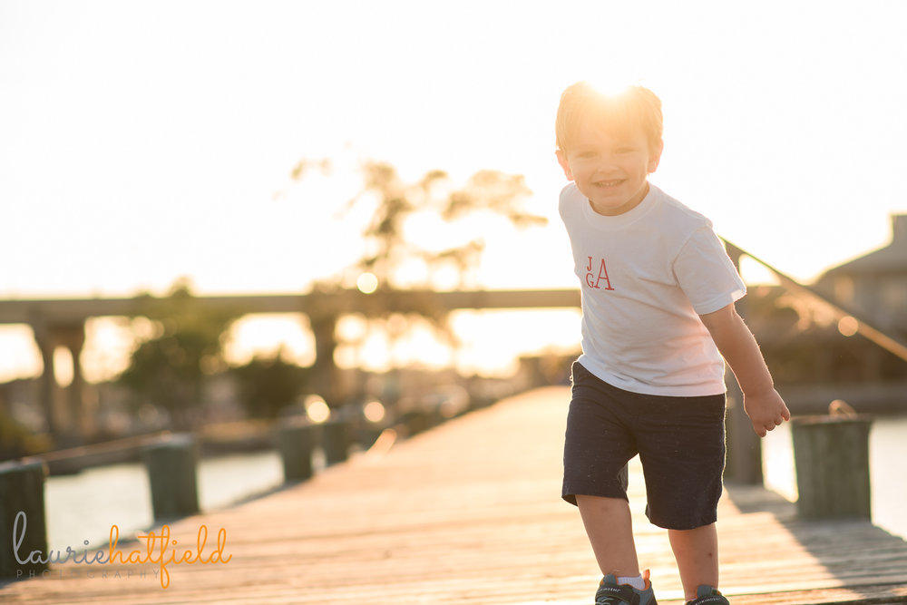 3-year-old little boy playing on pier | Mobile AL family photographer