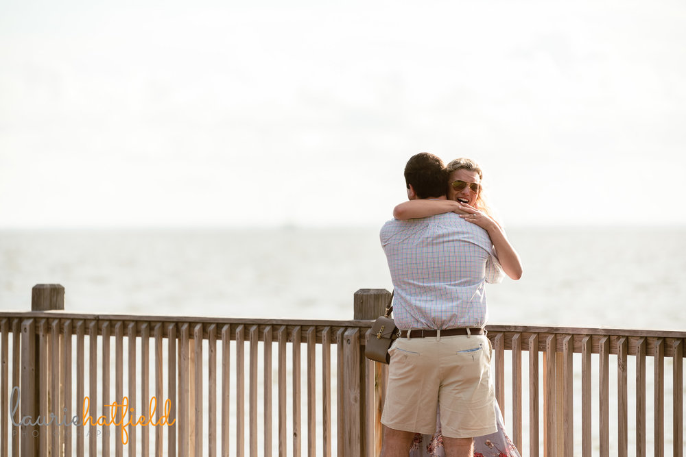 couple hugging after engagement | Mobile Al proposal photography