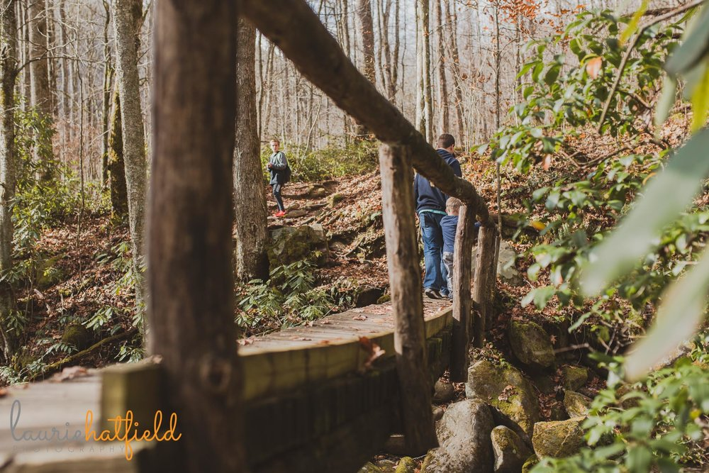 family hiking across a bridge | Mobile AL photographer