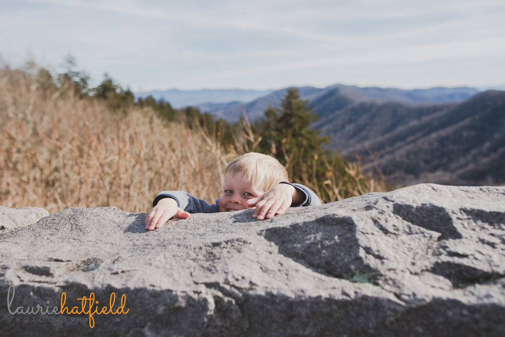 little boy holding onto rock | Mobile AL family photographer