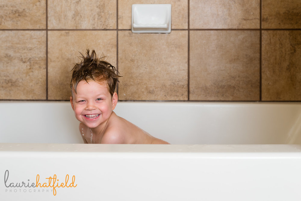 little boy in bath | Mobile AL lifestyle family photographer