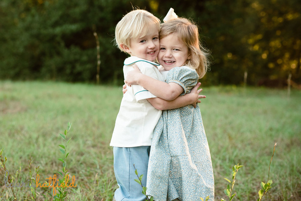 3-year-old boy girl twins hugging | Mobile AL family photographer