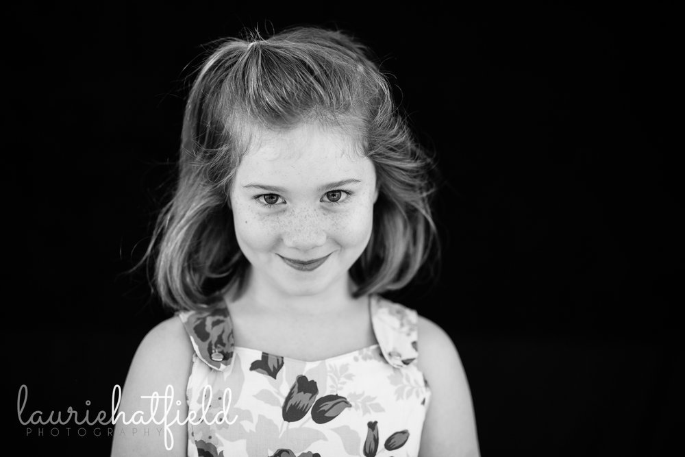 black and white portrait of 8-year-old girl with freckles | Daphne AL school photographer