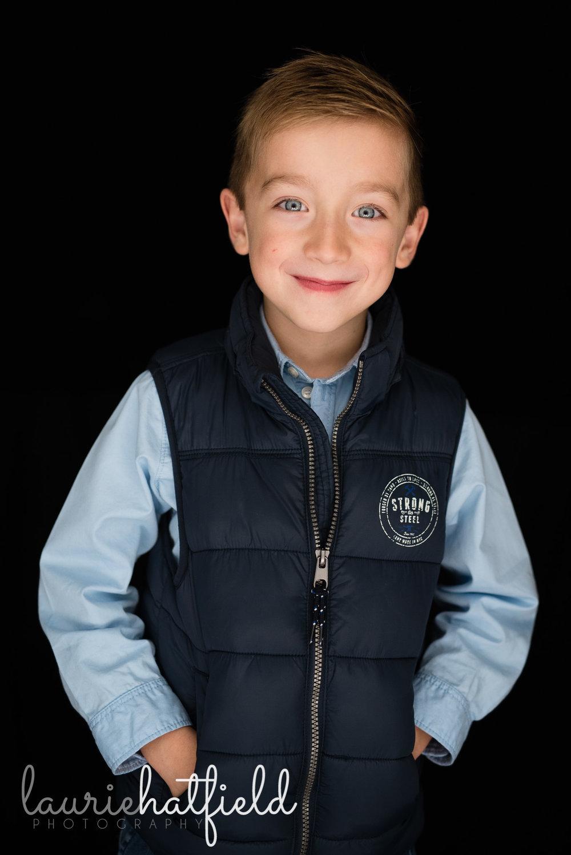 boy in navy blue vest | Mobile AL preschool photographer