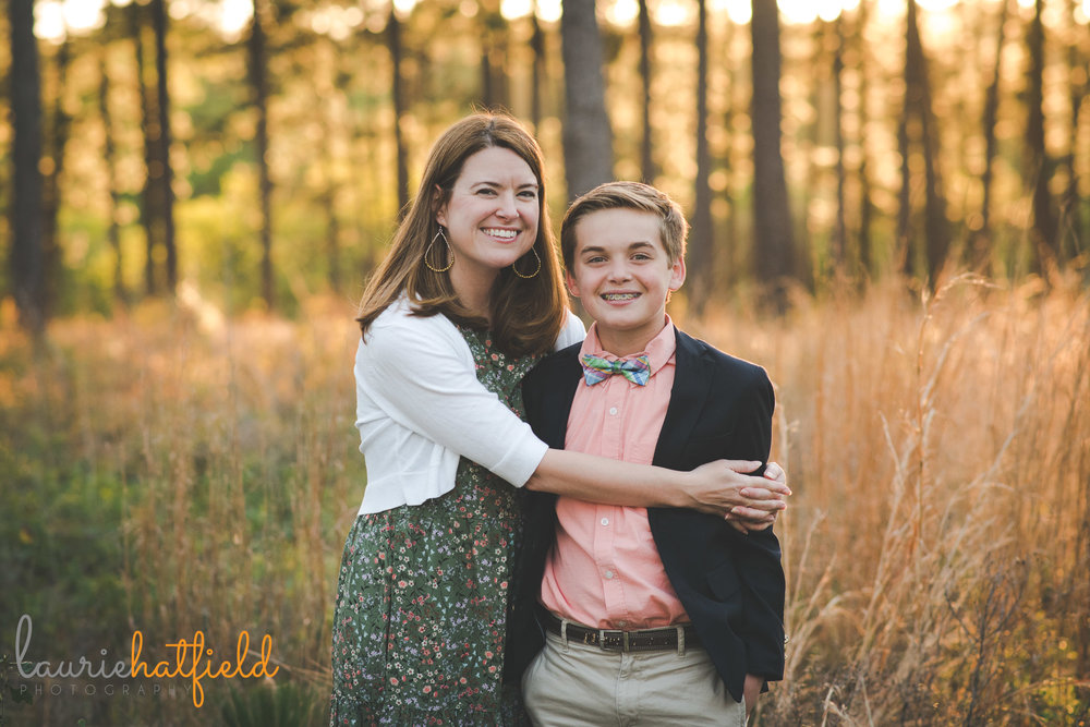 mom with 12-year-old son in field | Fairhope AL family photographer