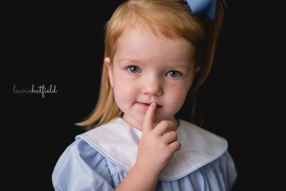 little girl in blue dress | Fairhope AL school photography