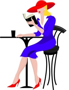 clip_art_illustratin_of_a_professional_woman_sitting_at_a_restaurant_table_reading_a_book_0515-1012-0503-2919_SMU.jpg