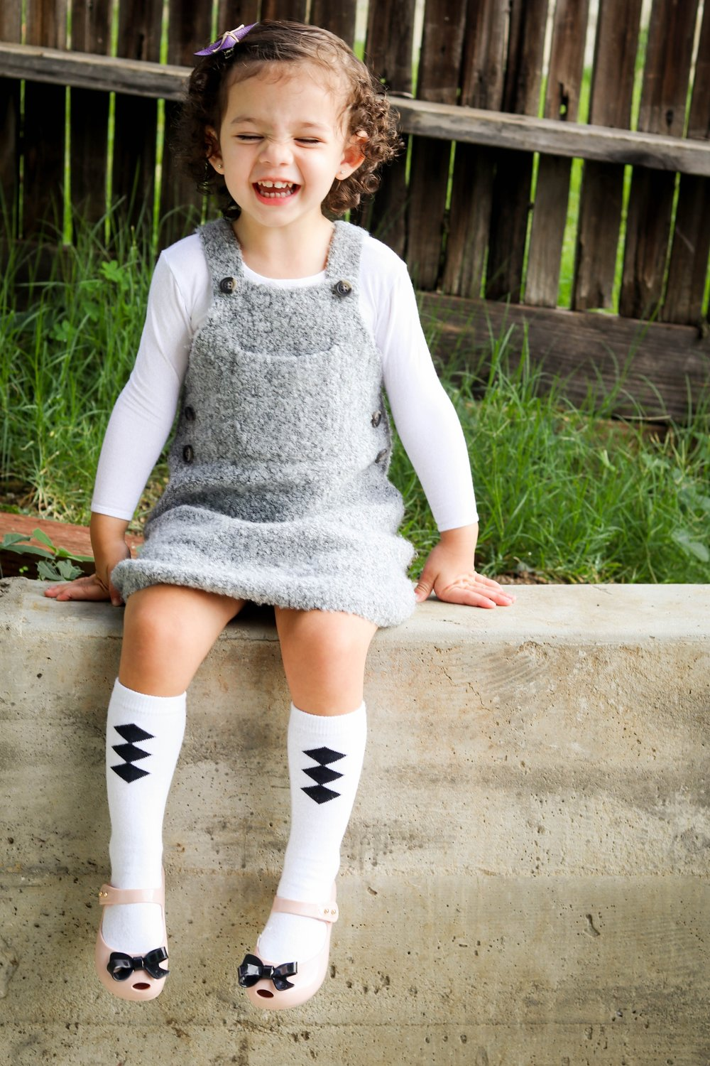 One of my favorite layering looks! Bodysuit:   Mila James   | Bow:   Penny and Mama   | Dress:   Zara Kids   | Knee Socks:   Crew & Lu   | Shoes:   Mini Melissa