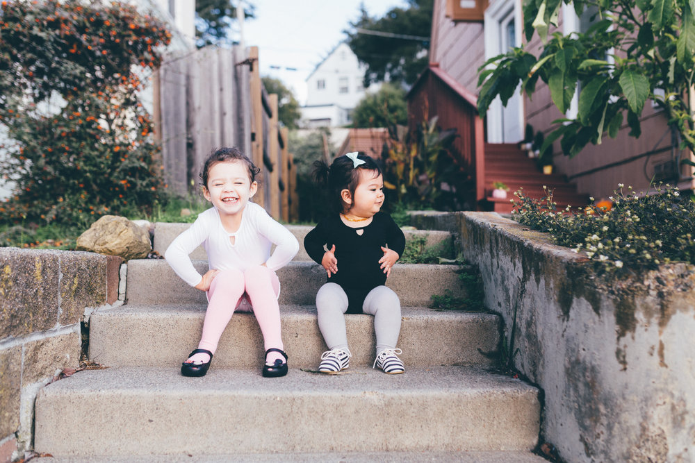 I'm just going to put these super adorable photos of Mila and Penny everywhere to lighten up this blog post. (Bodysuits:   Mila James  , Tights:   June & January  , Mila's shoes:   Mini Melissa  , Penny's shoes:   Honeysuckle Shoes ,  Photos:   Arlene Easterwood  )