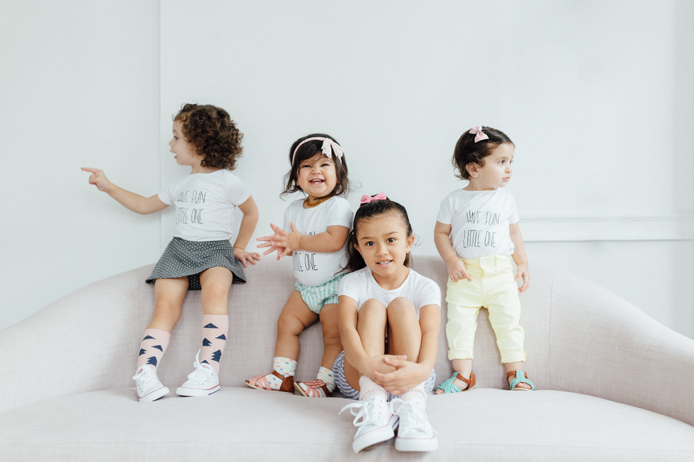 Mila's Skirt:   Designs by Madelei  Socks:   Paisley and Eloise  - Penny and Lena's Shorts:   Lacey Lane  - Lily's Jeans:   Zara Baby