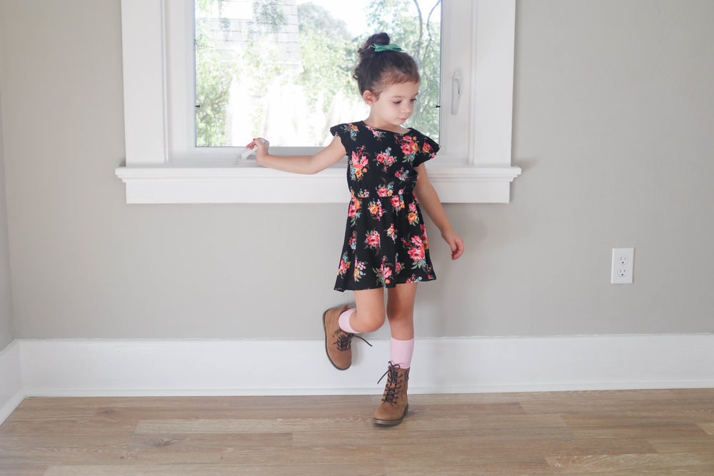 Bow:   Bee Frances  -  Dress:   Mila James   -  Socks:   Little Stocking Co   - Shoes:   Target