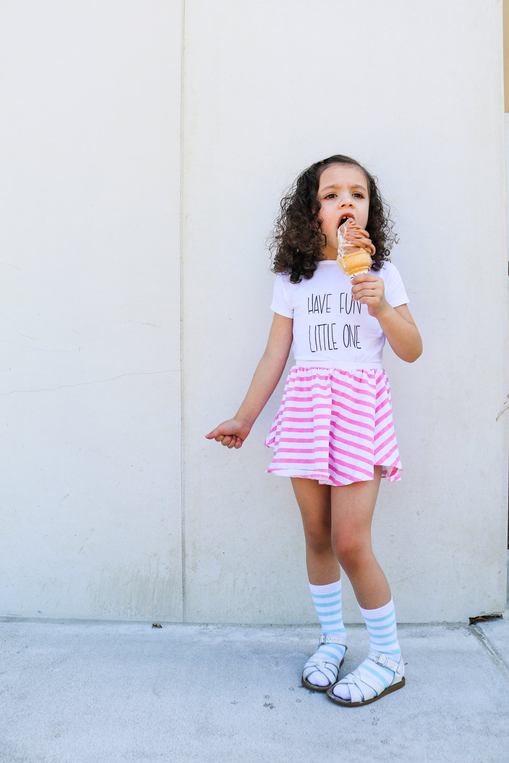 Shirt:   Mila James   Skirt/Socks:   June and January   Ice Cream: Super Duper (hahaha)