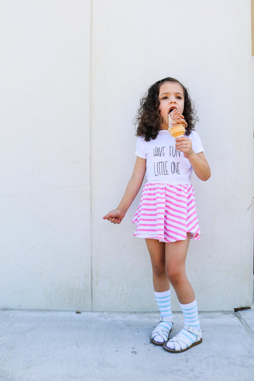 Shirt:   Mila James   Skirt/Socks:   June and January   Ice Cream: Super Duper (hahaha)