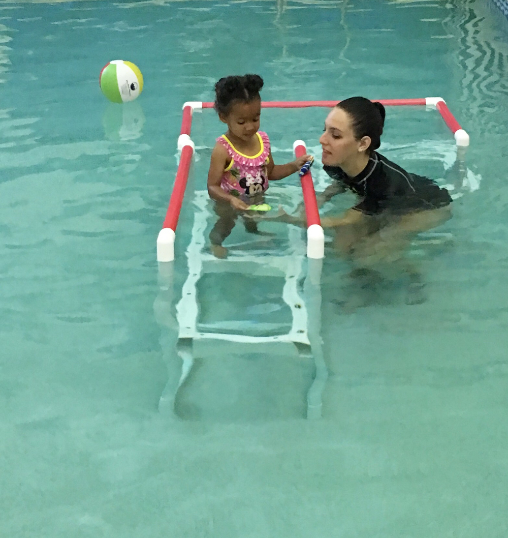 My daughter at her first swimming lesson