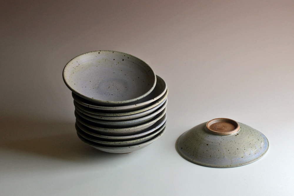 Pasta bowls with blue glaze