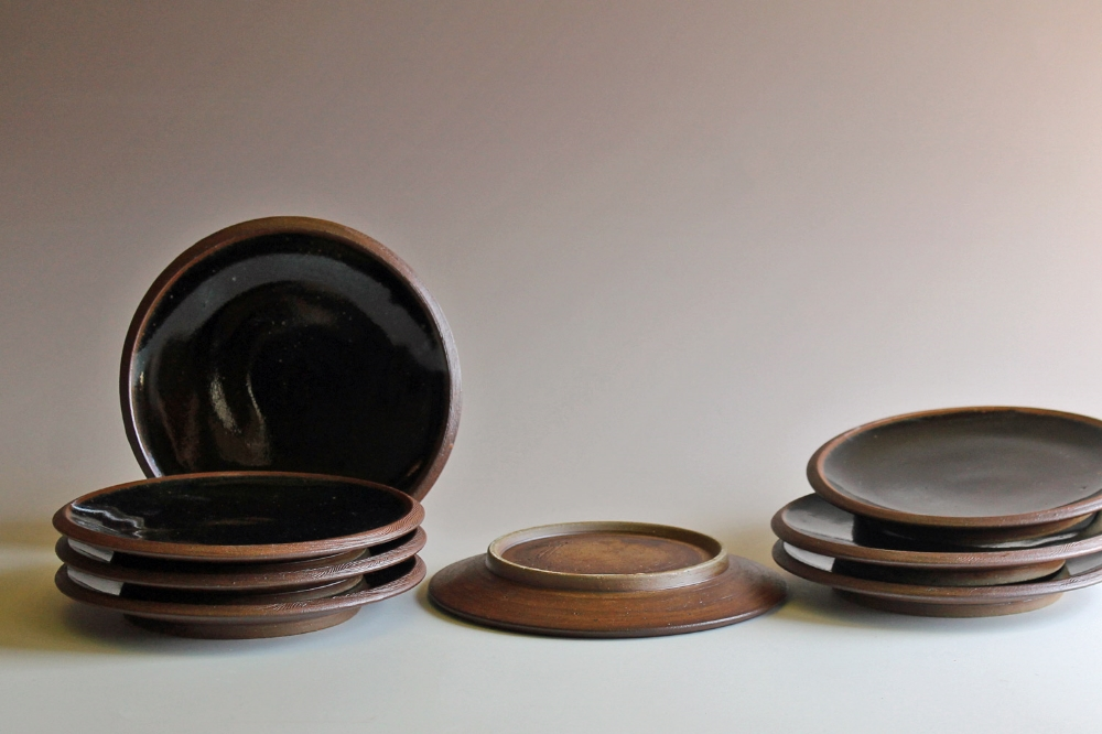 Salad plates with tenmoku glaze