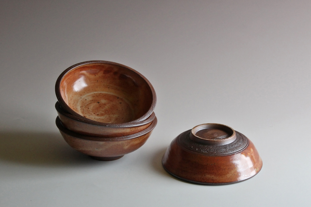 Salad bowls with orange shino glaze