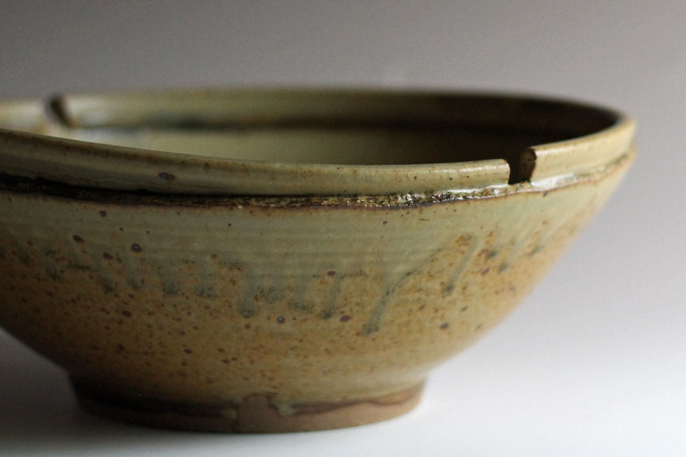 thrown & altered stoneware bowl with ash glaze