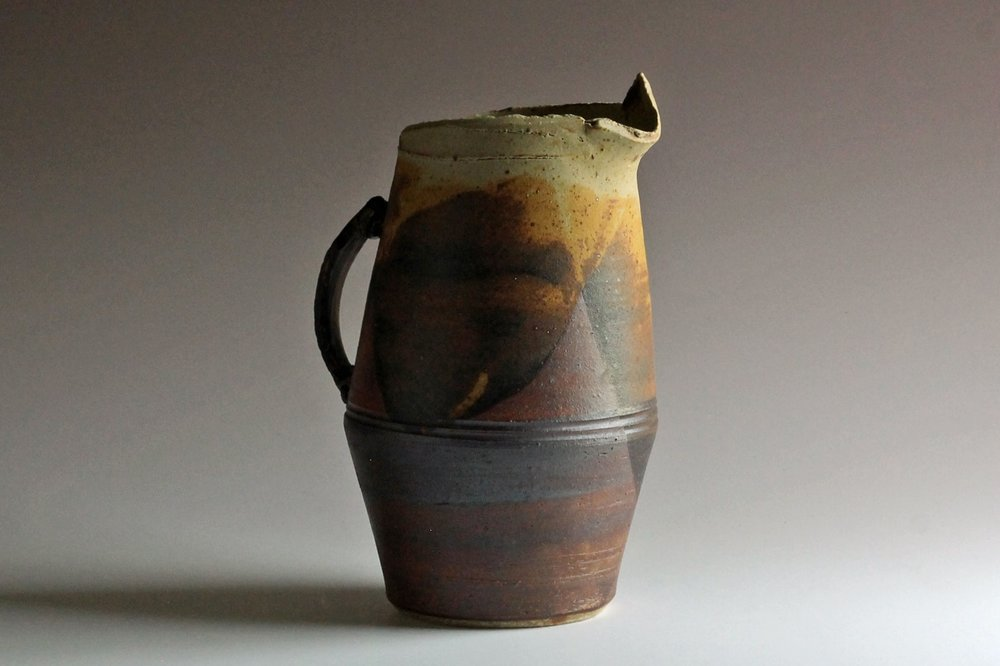 thrown & altered stoneware pitcher ash glaze