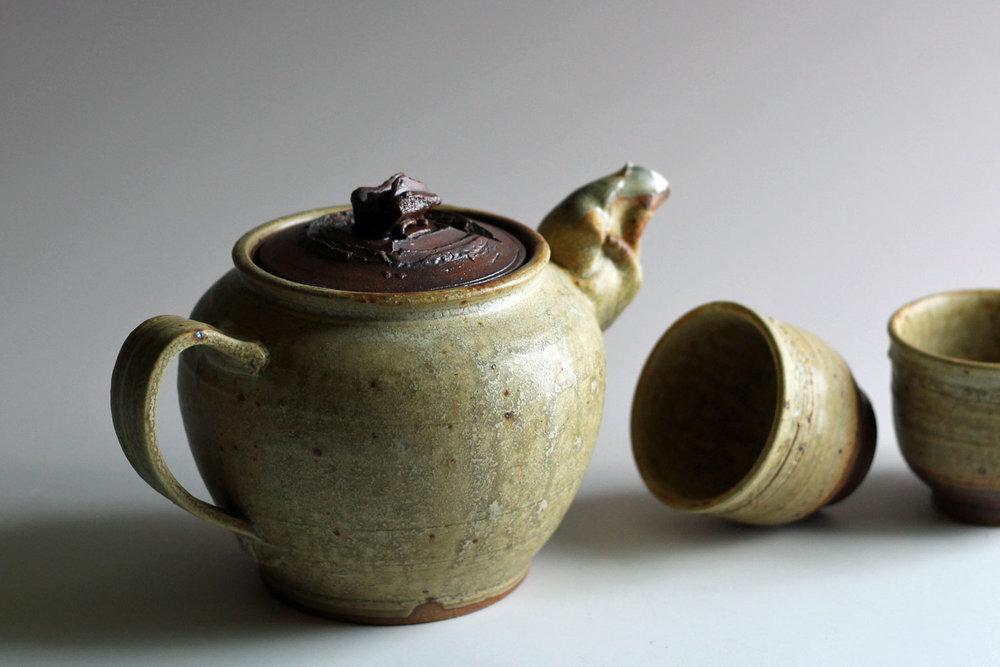 stoneware teapot yellow glaze