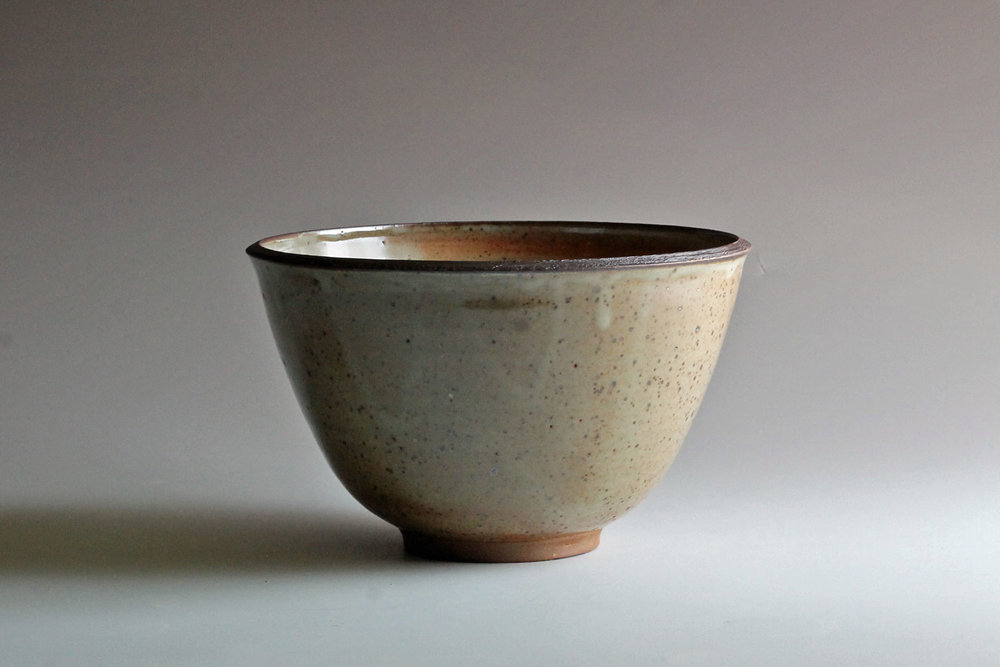 stoneware bowl with shino glaze