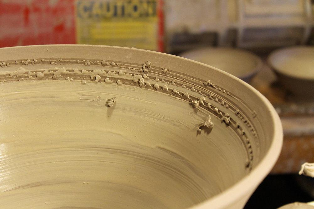 throwing stoneware bowl