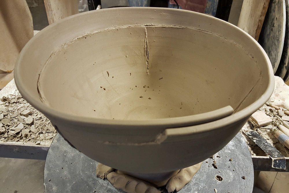 thrown altered stoneware bowl