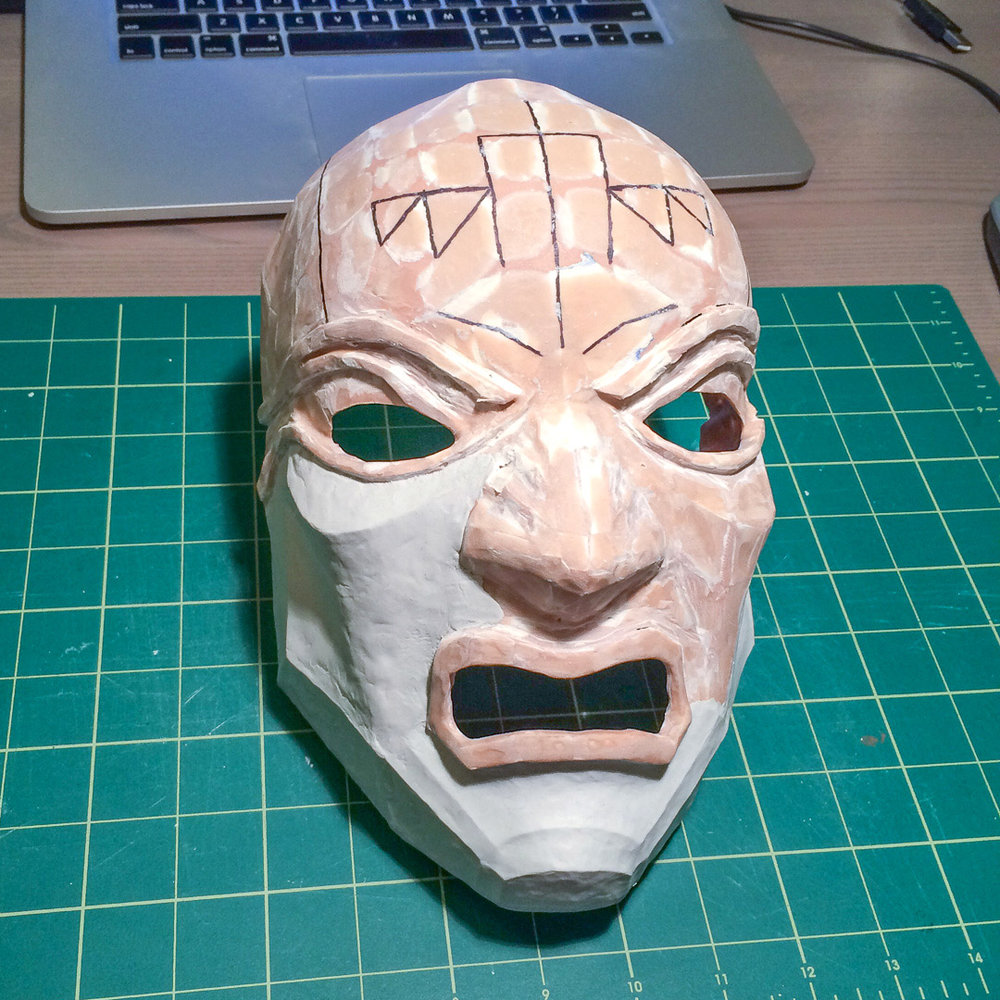 Dishonored Overseer mask Pepakura base with one layer of sanded Bondo and Apoxie Sculpt clay