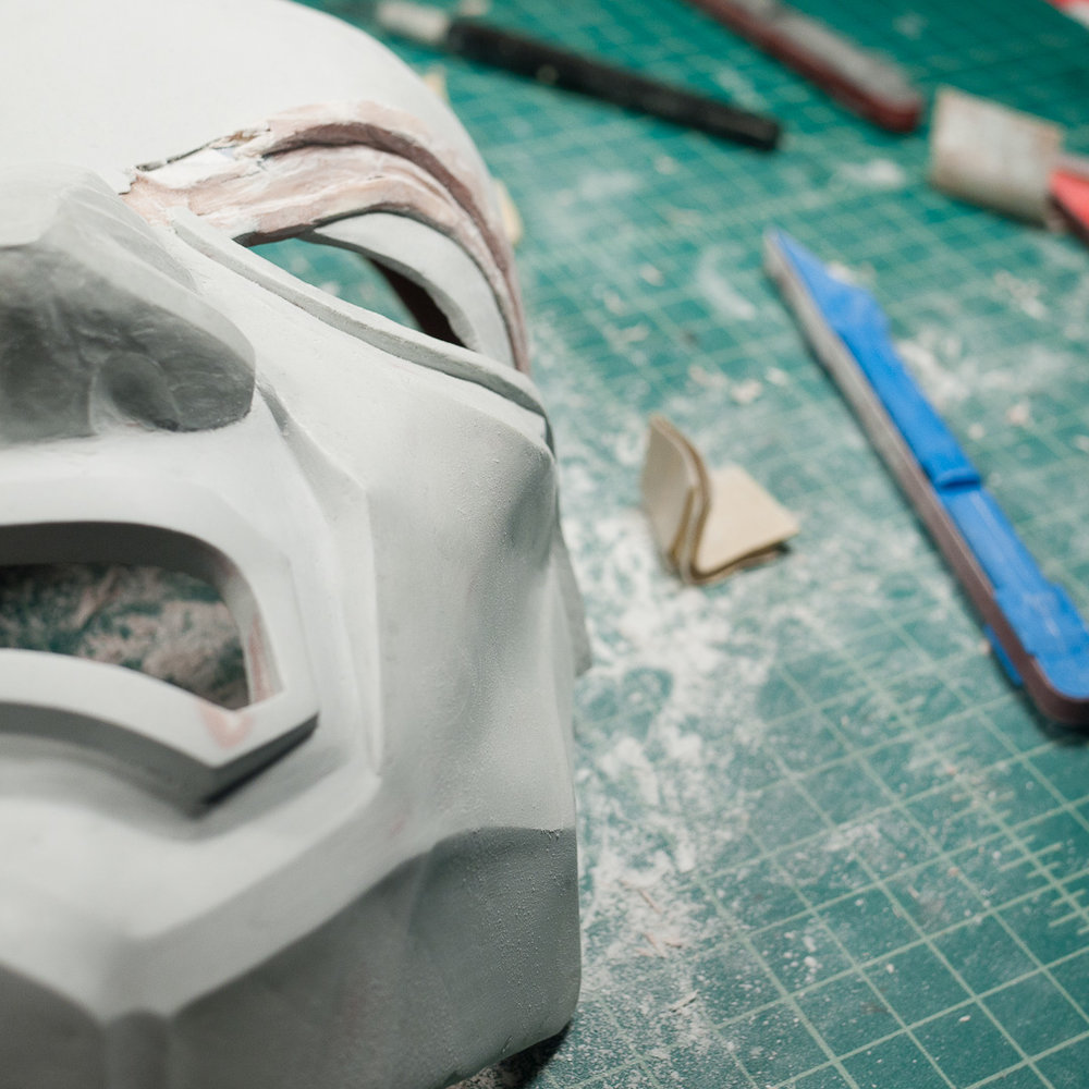Dishonored Overseer mask brow sculpting and sanding