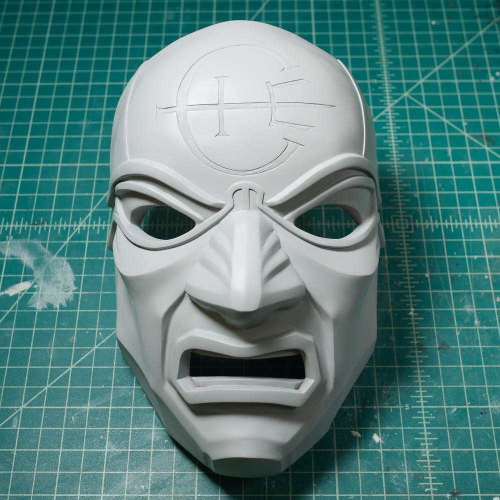 Dishonored Overseer mask primed with Tamiya Fine Surface Primer
