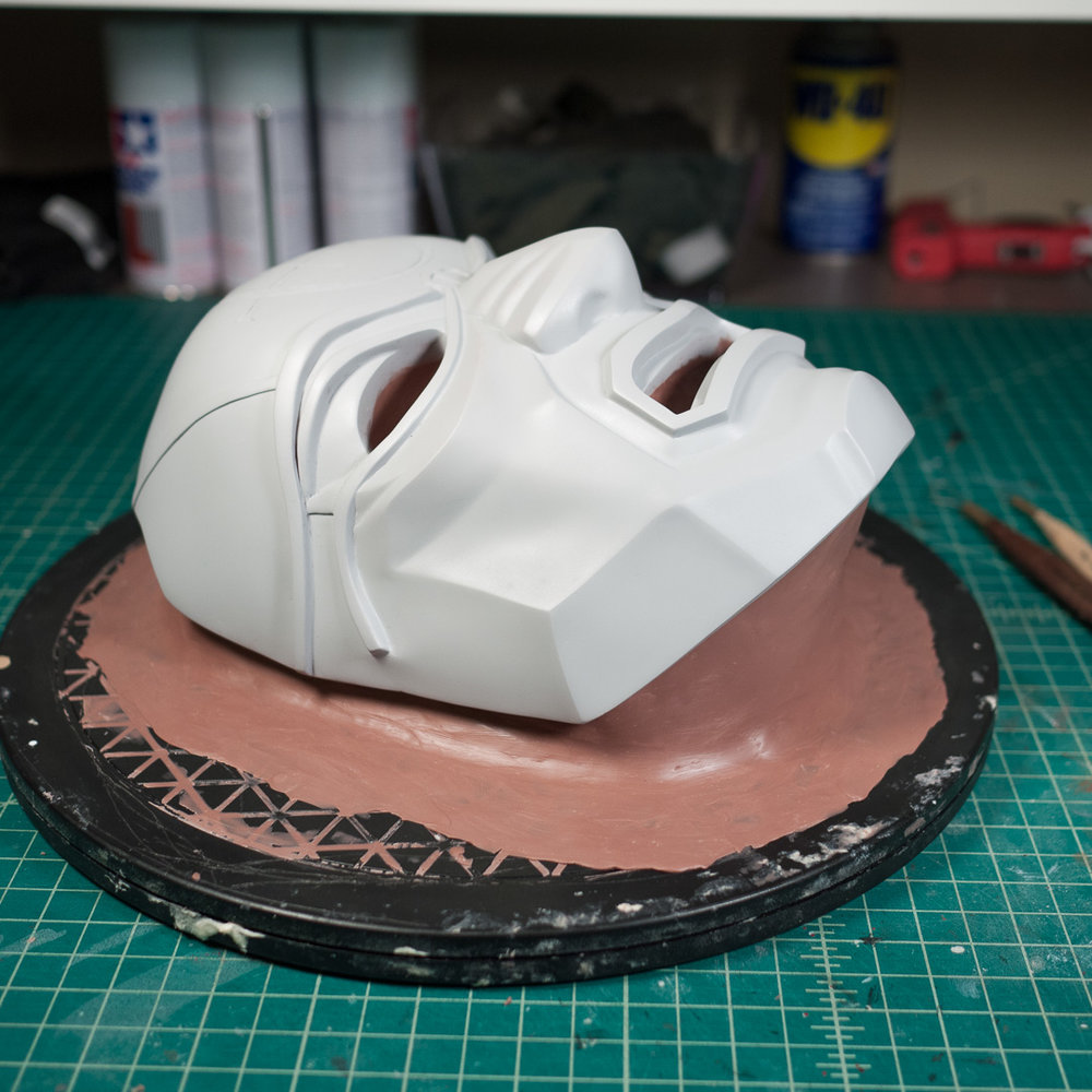 Dishonored Overseer mask clayed for molding with Monster Clay