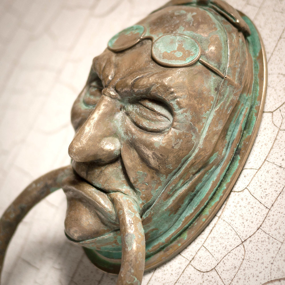Jacob Marley Door Knocker Cold Cast Brass With Patina   Closeup View