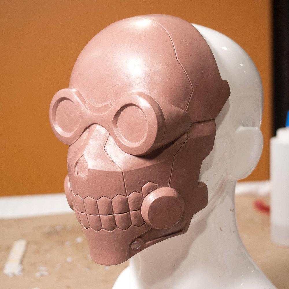 Sword Art Online Death Gun mask clay sculpt in progress