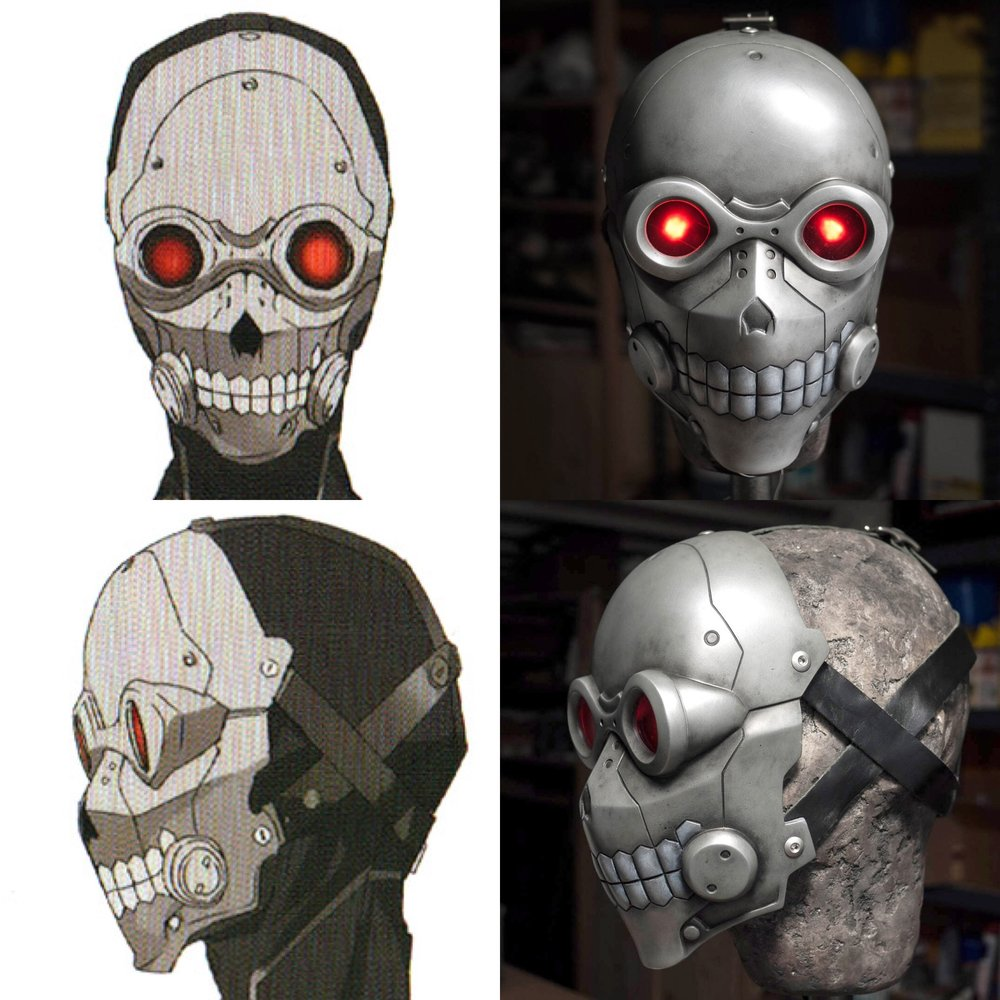 Sword Art Online Death Gun mask compared to the anime version