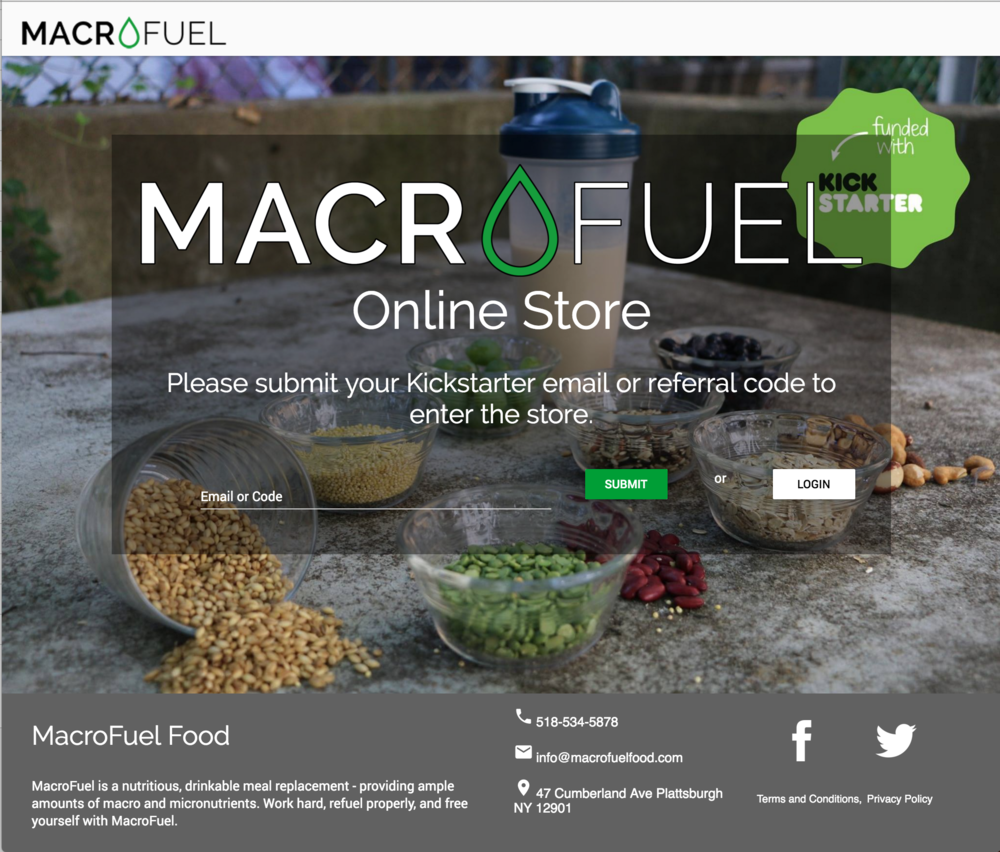 MacroFuel Food Online Store v1 Entrance Page