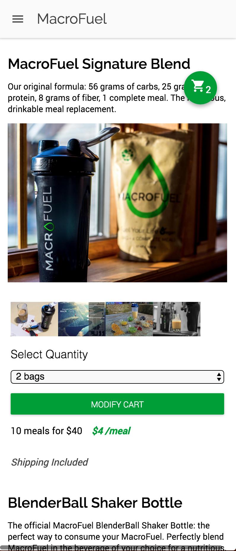 MacroFuel Food Online Store v2 Mobile