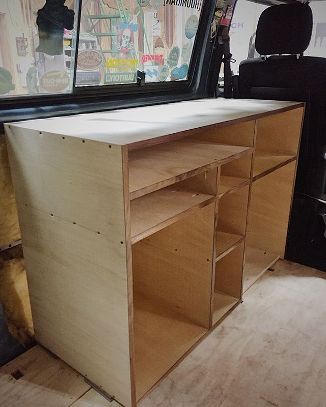 Just finished the initial assembly of the refrigerator/sink/cook top cabinet to make this 86 vanagon synchro Westy weekender into a full camper. My goal is to make this camper build out as light as possible. As it stands right now it is 36 pounds, not bad considering, it took a little more than one sheet of plywood to make the first unit. If anyone knows the weight of an original Westy camper interior I'd love to know. Stay tuned. #robbyoungsfinewoodworking  ROBBYOUNG.COM #vanagonlife