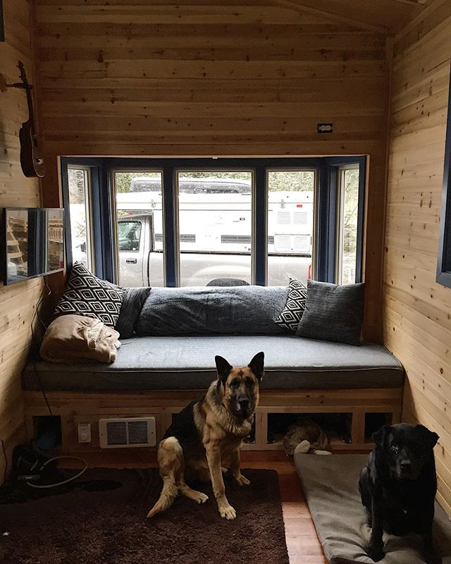 I've been told many times that I have not posted enough pictures of the daybed/bay window so here it is with help from the boys. It's as cozy as it looks. ROBBYOUNG.COM #robbyoungsfinewoodworking