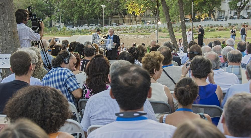 Professor William McBride, President of FISP, addresses the Congress Participants at Aristotle's Lyceum.