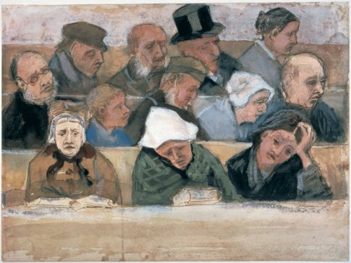 Vincent van Gogh - Church Pew with Worshippers